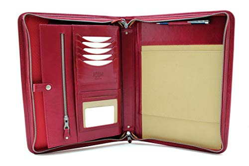Executive Monthly Planner Padfolio - Noda Executive Leather Padfolio Professional Business Portfolio w/Zippered Closure | Resume, Document, Notepad, Tablet, Writing Pad Organizer | Men, Women (red)