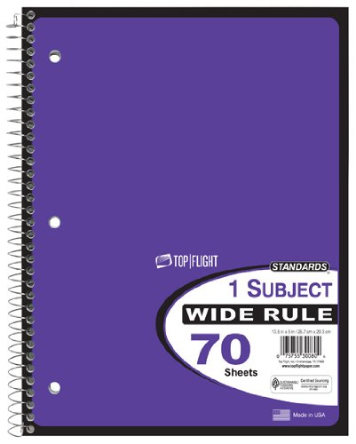 Top Flight Standards 1-Subject Wirebound Notebook, 70 Sheets, Wide Rule, 10.5 x 8 Inches, 1 Notebook, Purple Cover (30080)