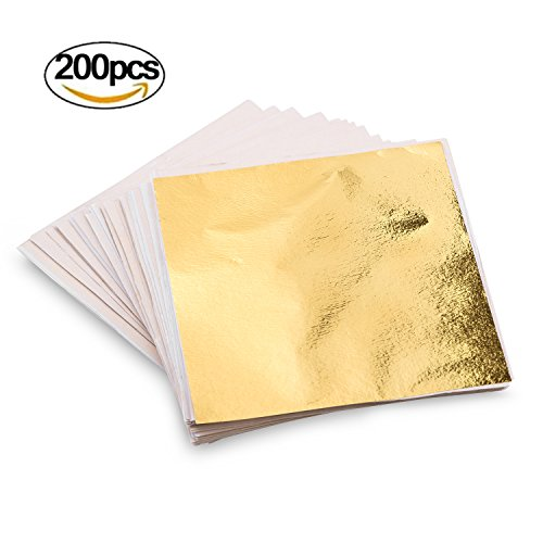 200PCS Fake Gold Leaf Sheets Paper Flakes for Slime DIY Decor Accessories, Arts, Gilding Crafting, Decoration, Facial - 3.55 Inch 3.55 Inch (Gold)