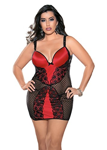 -Size Queen Lace and Stretch Satin Chemise with Molded Cups, Black/Red, 1X/2X ()