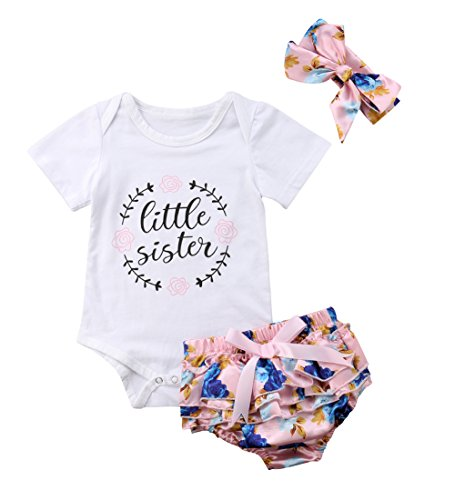 Baby Girls Jumpsuit Newborn Infant Kids Floral Clothes Shorts Summer Romper Bodysuit Sundress Outfits (6-12 Months, Pink)