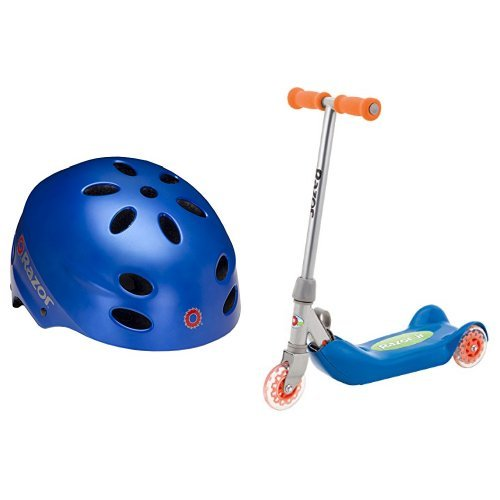 Razor V-17 Child Multi-Sport Helmet, Satin Blue and Razor Jr. Folding Kiddie Kick Scooter - Blue Bundle