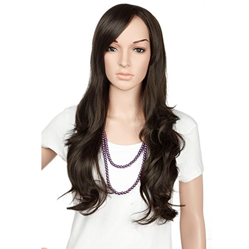 [28inch full head wig for women fashion and beauty (Curly, Dark Brown)] (Invisible Man Costume Diy)