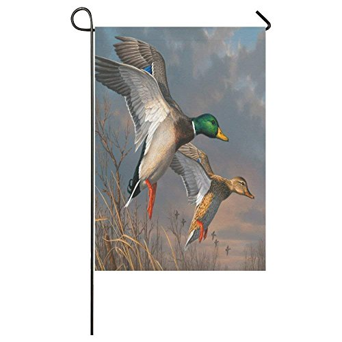 QQshiqI Fathers/Mothers/Grandmas/Grandpas Novelty Gifts Presents Cute Mallard Duck Pattern Outdoor Summer Holiday Welcome Home Garden House Flag Fabric 12x18 inches ()