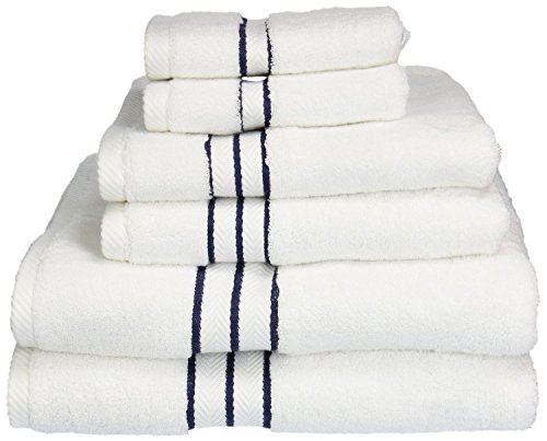 (Superior Hotel Collection 900 Gram, Long-Staple Combed Cotton 6 Piece Towel Set, White with Navy Blue Border)