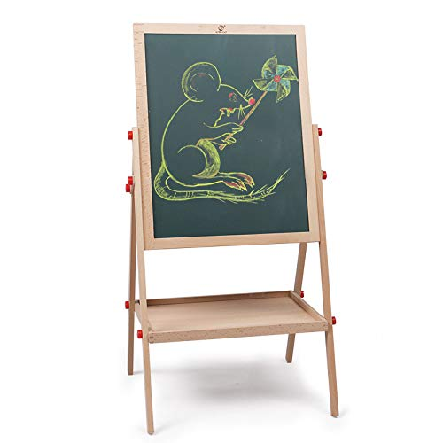 2 in1 Wooden Kids Easel Double-Sided Adjustable Chalk Drawing Blackboard & White Dry Erase Surface with Bonus Magnetic Alphabet Numbers & Extra Accessory Set (40inch) -