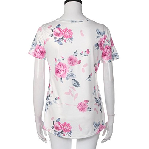 Women's Tee,Neartime Pink Flower Printed Short Sleeve Tops T Shirt for Woman (XL) Photo #4