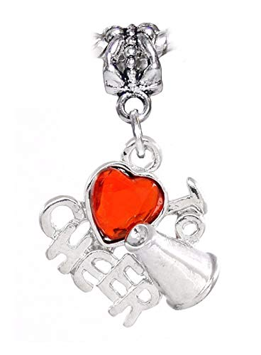 Love to Cheer Red Heart Gem Cheerleader Dangle Charm for European Bead Bracelets Crafting Key Chain Bracelet Necklace Jewelry Accessories Pendants