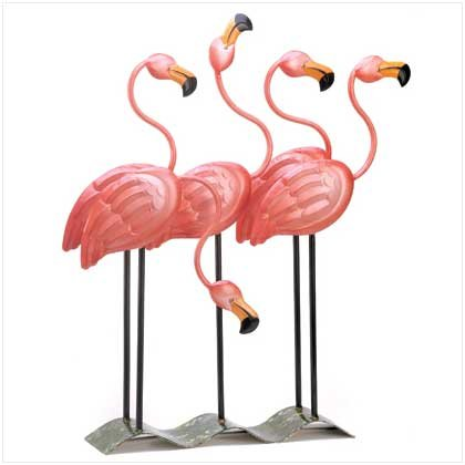 Tropical Flamingo Flock Iron Home Garden Decor Figure - Iron Cast Wrought Garden Decor