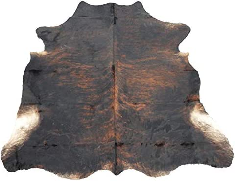 Tomtom Cowhides Brindle Dark Cowhide Rug 100 Natural Leather Rugs 7 x 6