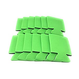 CSBD Blank Beer Can Coolers Premium Quality Soft Drink Coolies Collapsible Insulators Bulk, 12 Packs, 25 Packs, 50 Packs, Great For Monograms, DIY Projects, Weddings, Parties, Events (12, Lime Green)