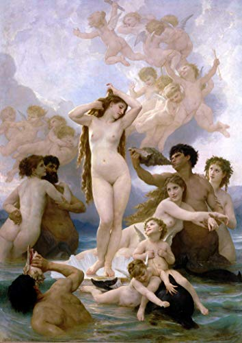 ($50-$4000 Hand Painted Art Paintings by College Teachers - Birth of Venus Naissance de Venus William Adolphe Bouguereau Nude Oil Painting Reproduction for Wall Decor Canvas Old Famous -Size18)