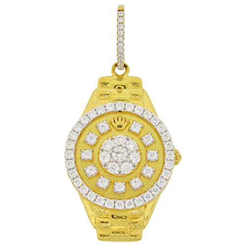 Men's Yellow Gold-Plated Sterling Silver Round Cut Cubic Zirconia Watch Style Pendant, 2.20