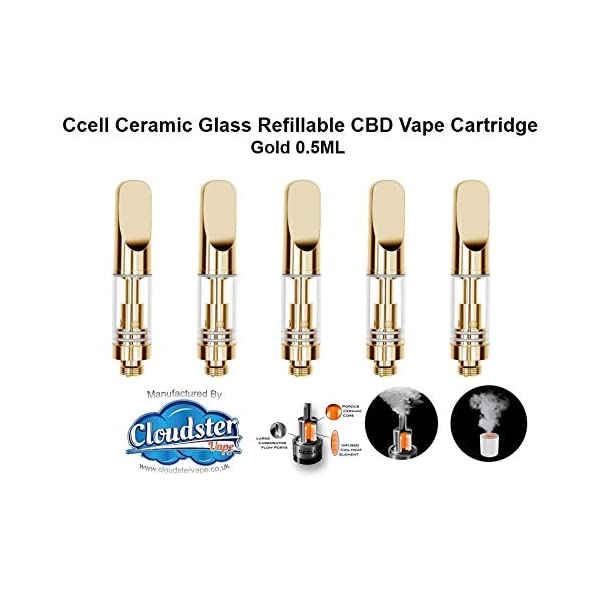 CBD Glass Refillable Vape Cartridge (Gold 5pk 0.5mL) Ceramic Cell Coil Atomiser with Ceramic Mouthpiece (510 Thread) for CBD and Thick Oil