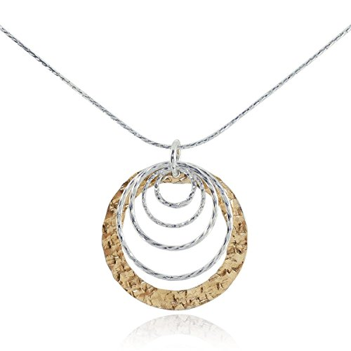 Two Tone Graduated Circles Pendant 925 Sterling Silver & 14k Gold Filled Necklace, (14k Circle Necklace)
