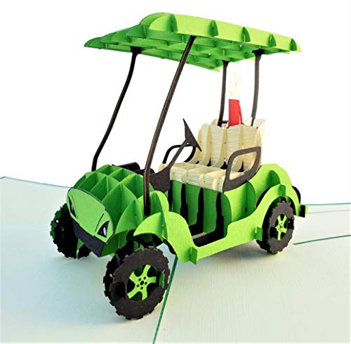 Golf Card Pga - iGifts And Cards Awesome Green Golf Cart 3D Pop Up Greeting Card - Hole in One, Putter, Clubs, Cool, Fun, Half-Fold, Celebration, All Occasion, Happy Birthday, Retirement, Father's Day, Mother's Day