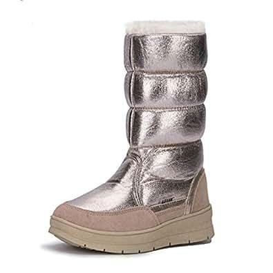 Amazon.com | UKURO Women Mid-Calf Snow Boots No-Slip