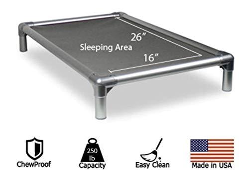 Image of Kuranda All-Aluminum (Silver) Chewproof Dog Bed - Small (30x20) - Ballistic Nylon - Smoke