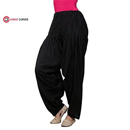 CLASSIC CURVES Indians Women's Patiala Salwar Lycra Baggy Black Trouser Free Size Salwar (Trouser Kameez)