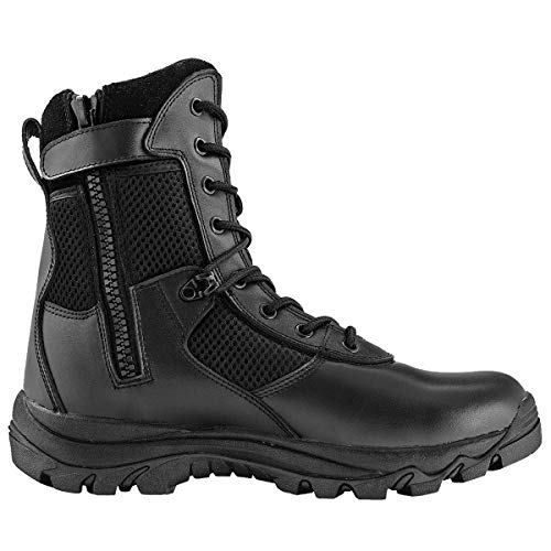 Maelstrom Men's LANDSHIP 8 Inch Military Tactical Duty Work Boot with Zipper, Black, 10 M US (Uniform Resistant Athletic Slip)