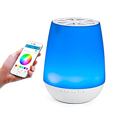 Techway Night Light LED Nightstand Smart Table Lamp with Wireless Bluetooth Speakers?Baby Night Light, Bedside Lamp,Dimmable Warm Light Color Changing for Party Christmas Table Decorations