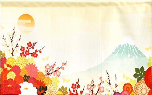 Cosmo Noren Japanese Curtain Blind Fujiyama View on Mount Fuji 85x46cm Made in Japan ()