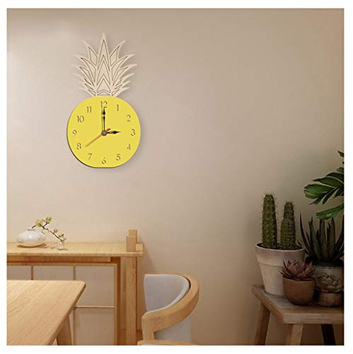 (2019HoHo Fruit Pineapple Wall Clock Silent Creative Adorable Silent Wooden Decorative Wall Clock for Home Bedroom Decor)