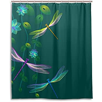 JSTEL Decor Shower Curtain Dragonfly Flower Pattern Print 100% Polyester  Fabric Shower Curtain 60 X 72 Inches For Home Bathroom Decorative Shower  Bath ...