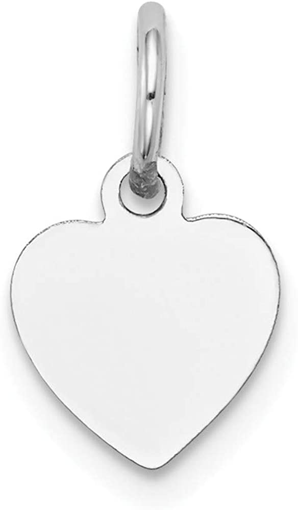 Jewels By Lux 14k White Gold Plain .018 Gauge Engravable Heart Charm