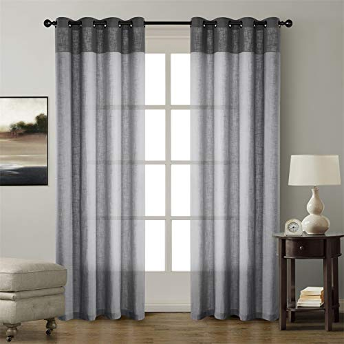 (Dreaming Casa Linen Textured Color Two Tones Room Darkening Curtains Grommet Top Window Treatment Panels Grey & Dove Gray (2 Panels, 52