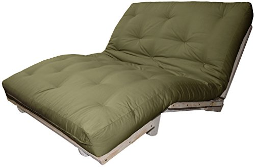 Houston Au Natural 8-inch Loft All Cotton Filled Sit, Lounge, or Sleep Futon Sofa Sleeper Bed, Full-size, Unfinished Frame, Microfiber Suede Olive Green - Outlets Premium Houston