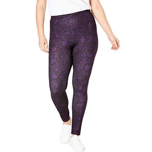 - Woman Within Women's Plus Size Cozy Legging - Black Dotted Paisley, 1X