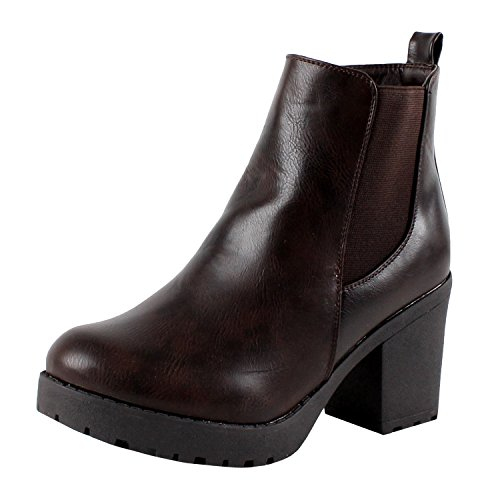 Refresh CLUB-01 Women's Elastic Panel Slip On Chunky Heel Ankle Booties,Brown (8.5)