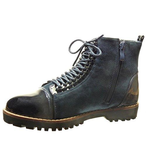 Angkorly - Zapatillas de Moda Botines botas militares bimaterial mujer cadena patentes Talón Tacón ancho 2.5 CM - Azul