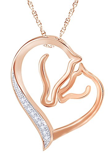 Wishrocks Open Heart Love Forever Double Horse Head Necklace in 14K Rose Gold Over Sterling Silver