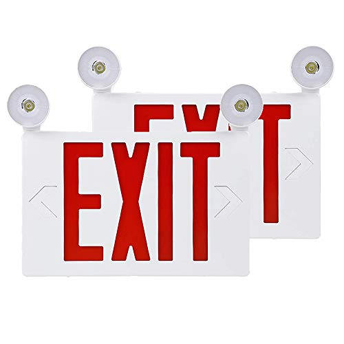 LFI Lights - UL Certified - Hardwired Red LED Compact Combo Exit Sign AC 120V/277V, Battery Included, Top/Side/Back Mount Sign Light, for Hotels, Restaurants, Shopping Malls, Hospitals, Pack of 2