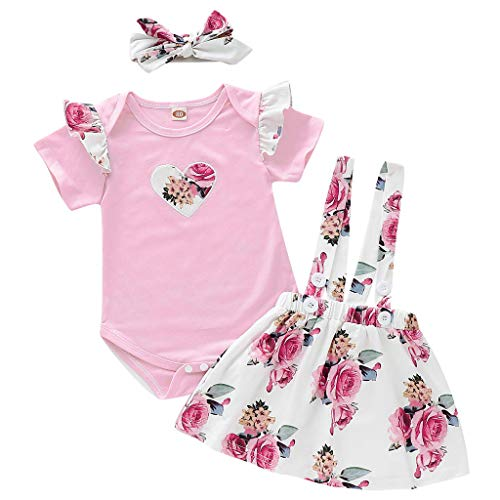 - Baby Girls Princess Style Outfits YESOT Infant Heart Print Rompers Tops+Floral Straps Skirts+Headband Set (12-18 Months)