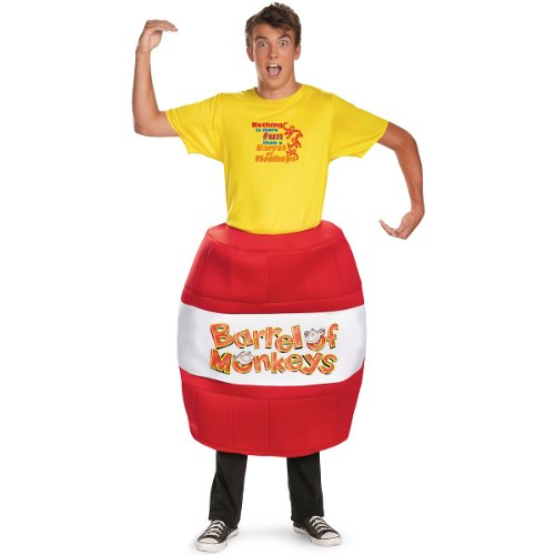Barrel Of Monkeys Adult Costumes (Disguise Hasbro Games Barrel Of Monkeys Deluxe Mens Adult Costume, Red/Yellow, X-Large/42-46)