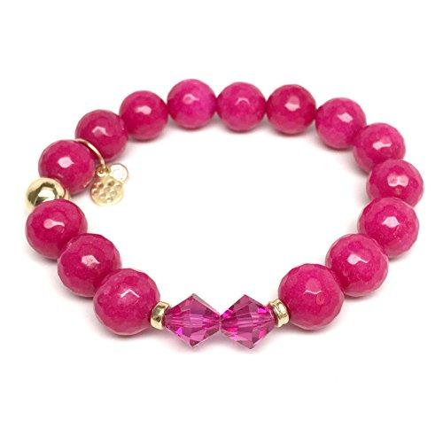 TFS Jewelry Fuchsia Agate Swarovski Crystal 'Paris' Stretch Bracelet