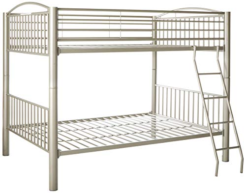Powell 941-137 Heavy Metal Bunk Bed, Full Over Full, Pewter ()