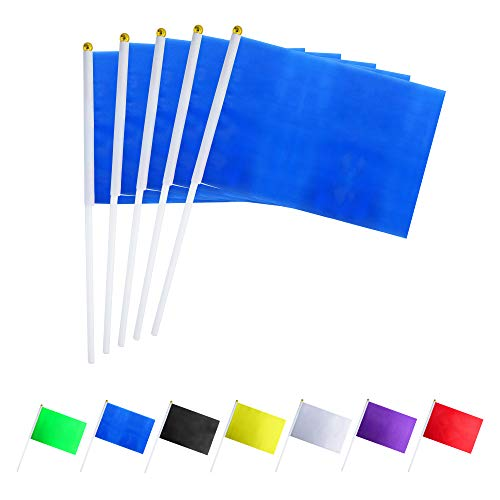 GentleGirl.USA 50 Pack Royal Navy Blue Flag, Pure Solid Sky Blue Small Mini Banner Banner Flags Stick, Party Color Decoration Parade Supplies, School, Sports Club, International Festival Celebration