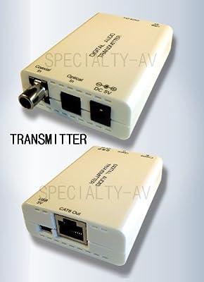 Digital Optical Toslink S/PDIF Coax Fiber Optic Audio Balun Extender over Cat5e/6 495ft 150M