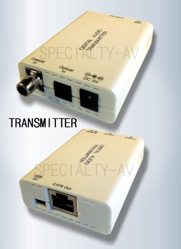 Digital Optical Toslink S/PDIF Coax Fiber Optic Audio Balun Extender over Cat5e/6 495ft 150M by SPECIALTY-AV