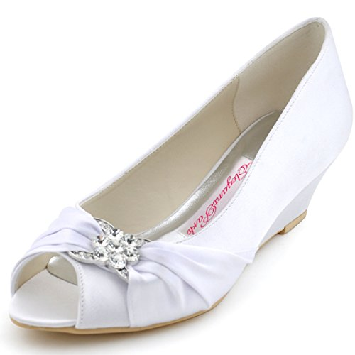 Rhinestone Peep Toe Pump - ElegantPark WP1403 Women Peep Toe Pumps Rhinestones Mid Heel Wedges Satin Wedding Bridal Shoes White US 10