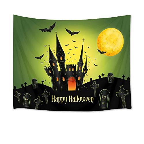 (LB Halloween Tapestry Wall Hanging Bats Castle Graveyard Under The Full Moon Halloween Night 3D Tapestry for Bedroom Living Room Dorm Home Decor, 60 x 40)