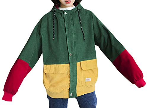 Vento A Casual Outerwear Cappuccio Con Cappotto Hoodie Lunga Jacket Sciolto Moda Coat Manica Patchwork Giacca Inverno Autunno Verde Cime Donne Giacche College Jungen FqfPE7H