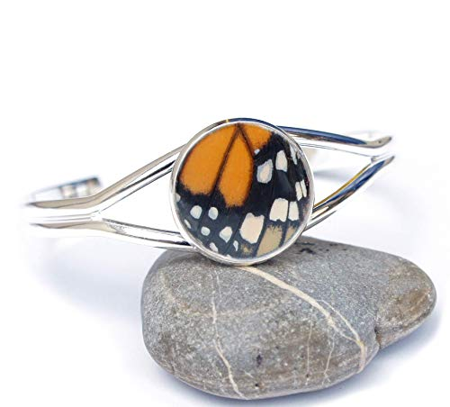 (Natural Butterfly Wing Bracelet Cuff - Monarch Butterfly - Bangle Silver Accessory)