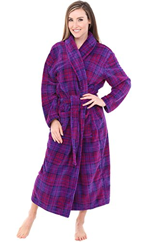 Alexander Del Rossa Womens Plush Fleece Robe, Warm Bathrobe, Small Medium Purple and Pink Plaid (A0117P74MD)
