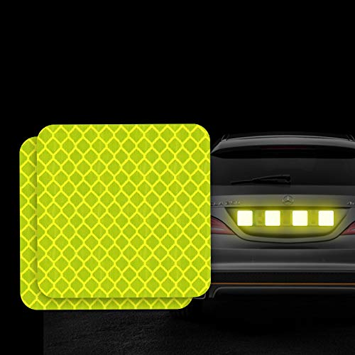 FOLCONROAD 10Pcs Car Reflective Warning Strip Stickers Safety Warning Light Reflector Protective Sticker Rectangle (Fluorescent Green-Square)
