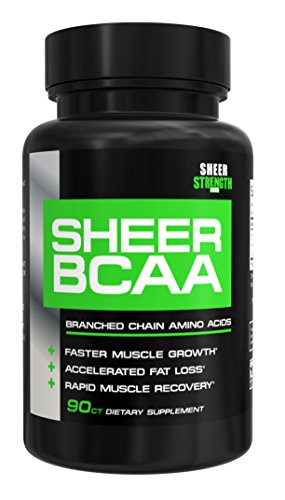 Sheer Strength Labs BCAA Capsules Extra Strength 1,950mg Branched Chain Amino Acids Muscle Building Post Workout Supplement, 90 Easy Swallow Veggie Caps, 30 Day Supply